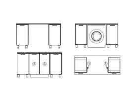 Модуль для установки стиральной машины под общую столешницу МС700 700х716х116 Модерн