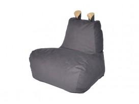 Кресло-мешок Бегемот велюр темно-серый-желтый